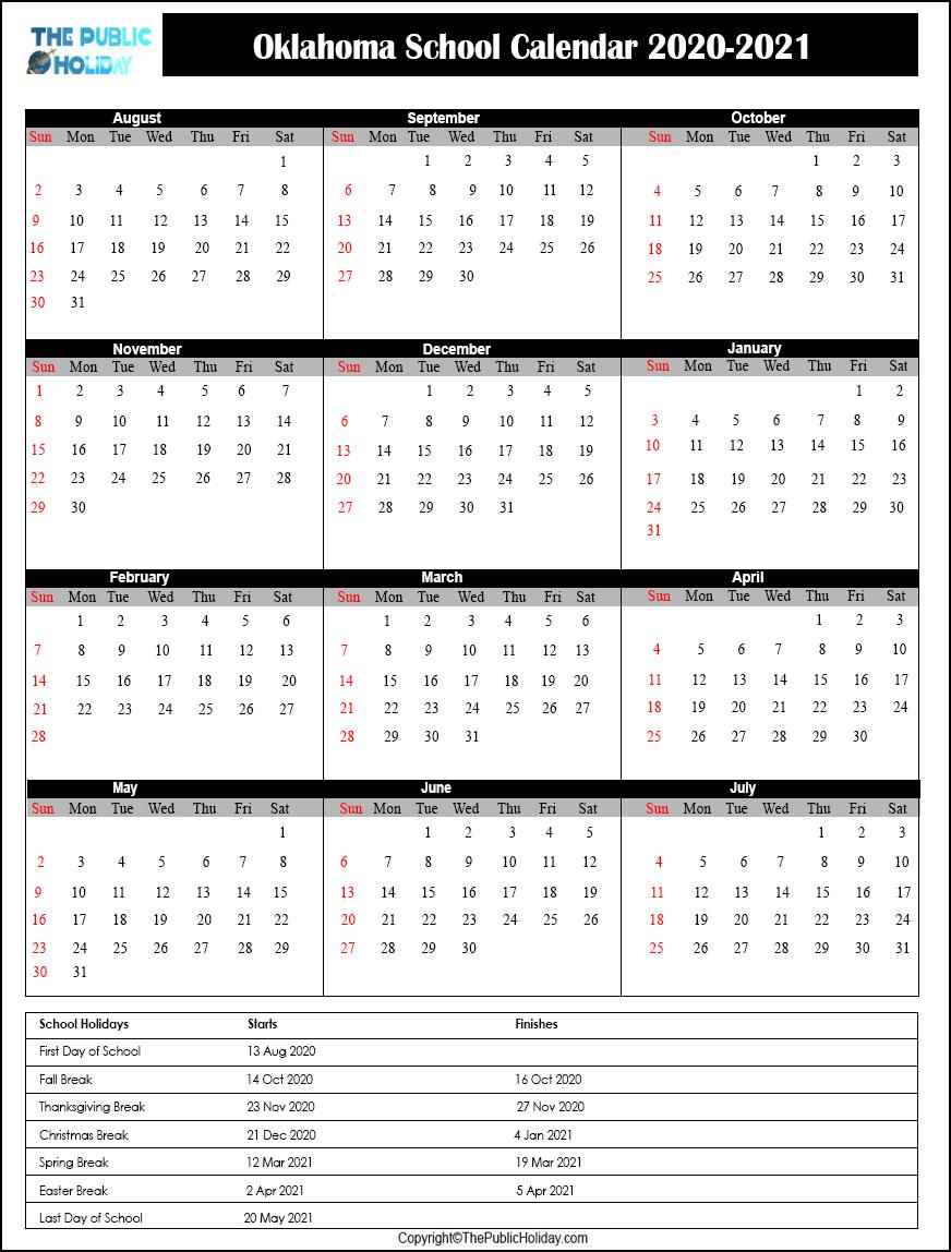 Oklahoma School Holidays 2020