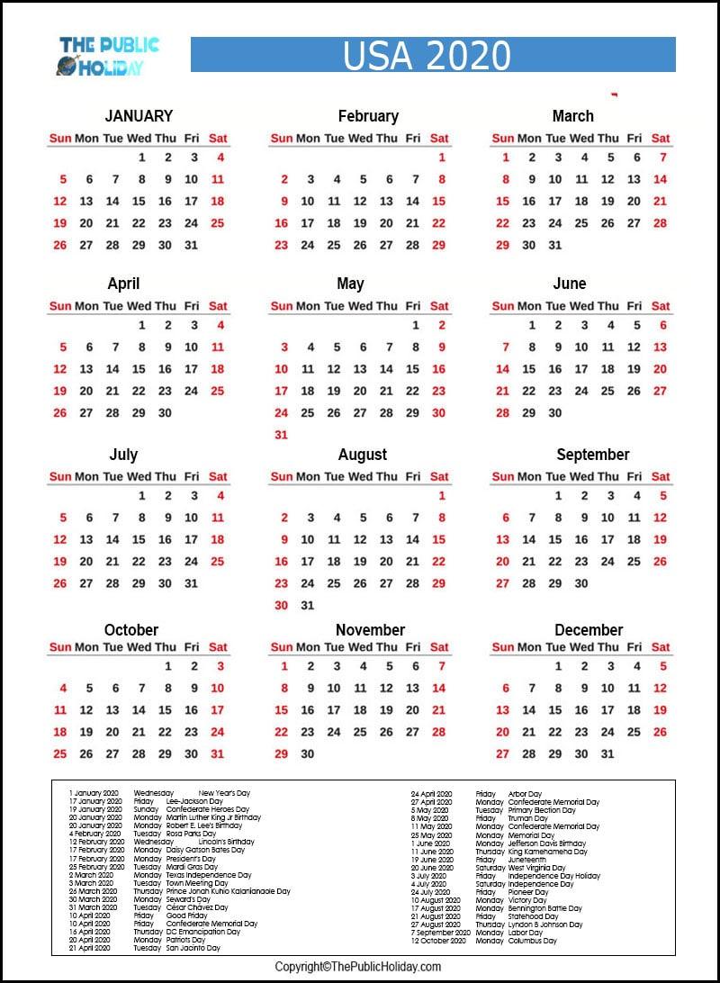 US Calendar 2020