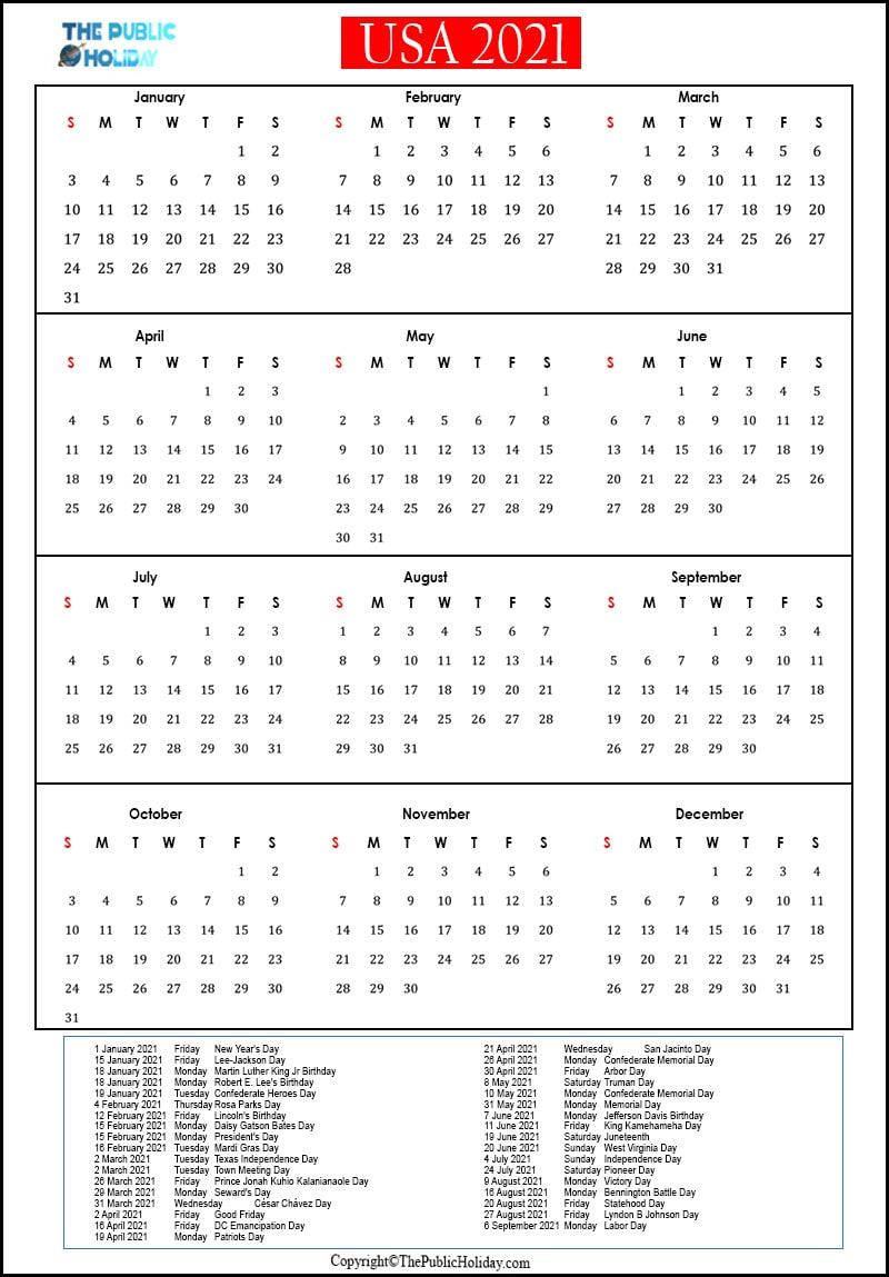 US Holidays 2021 Calendar Public, National, Federal, Bank
