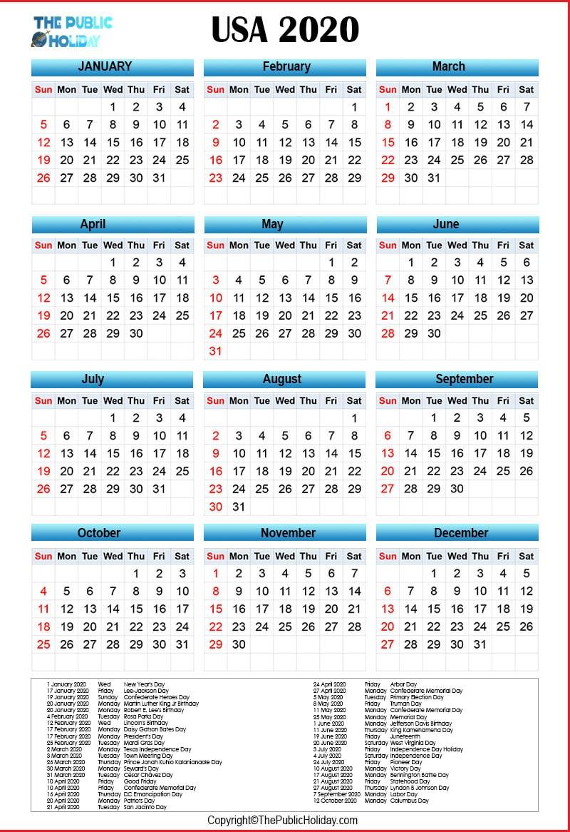US  Federal Holidays 2020