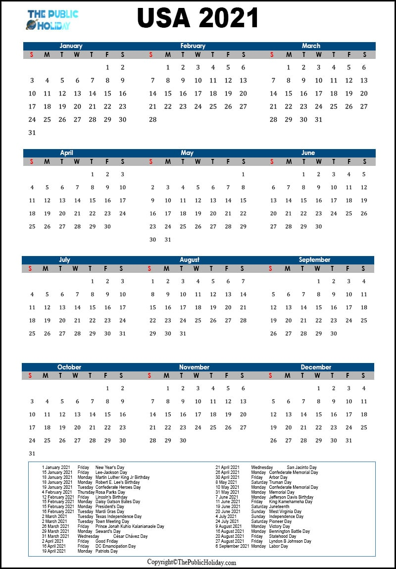 US  Federal Holidays 2021