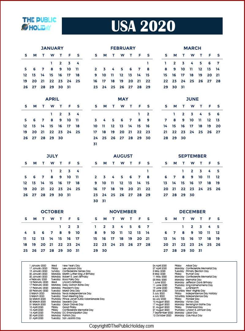US Holidays 2020