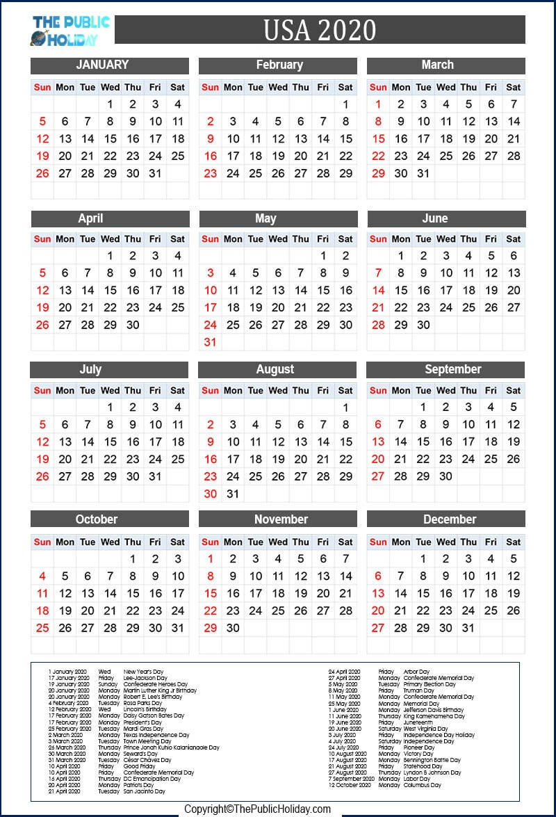 US  National Holidays  2020
