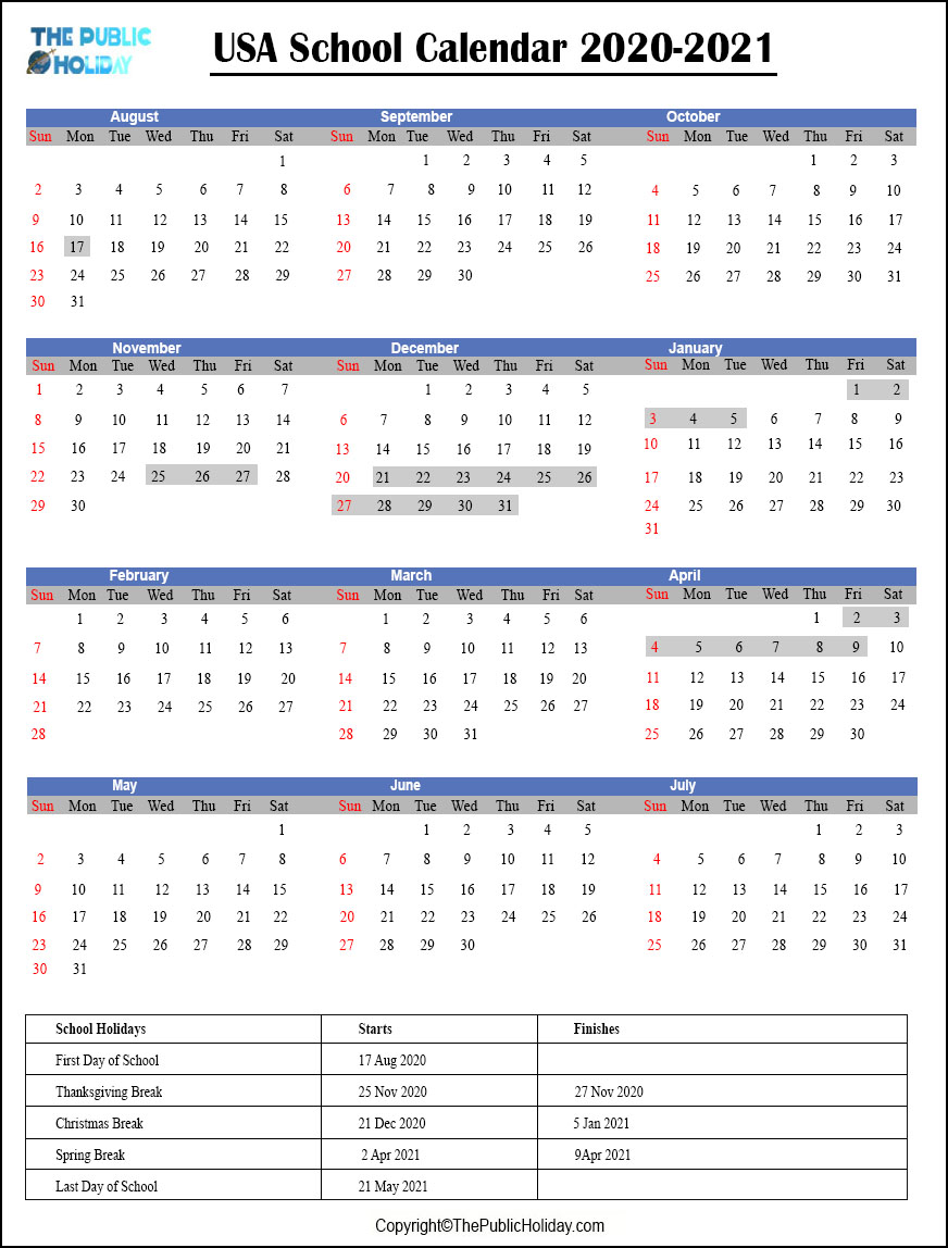 US School Calendar 2020