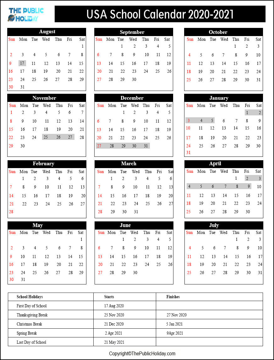 US School Holidays Calendar 2021
